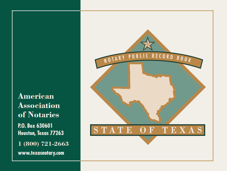 Texas Notary Public Record Book (350 entries)