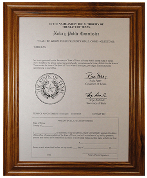 Texas Notary Certificate Frame (Fits 8 ½ X 11 inches EMAILED notary commission certificates)