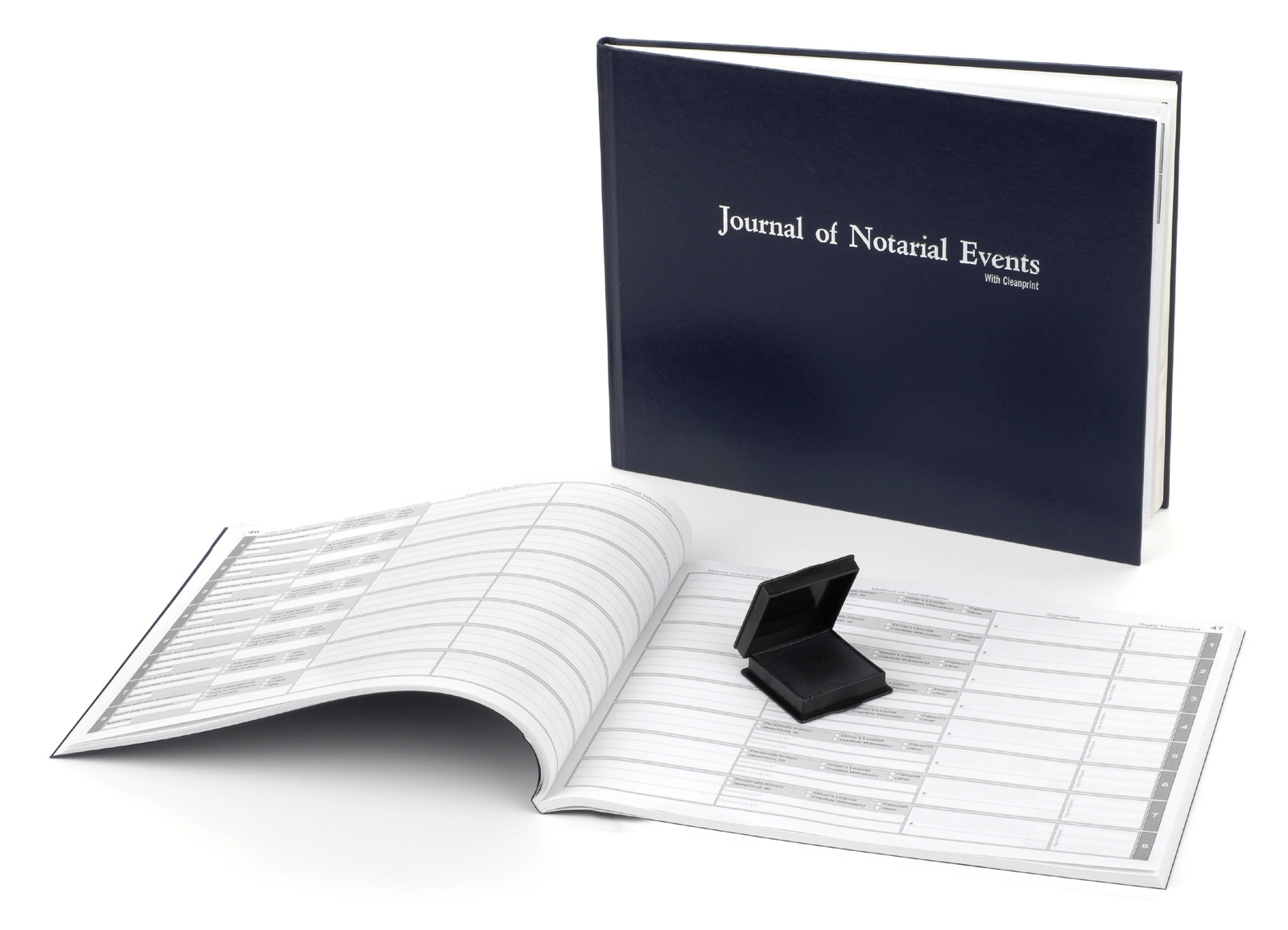 Texas Notary Hard Cover Journal with Inkless Thumbprint Pad